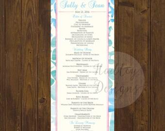 Wedding Program, Modern Wedding Program, Nautical Wedding Program, Classic Wedding Program, Elegant Program