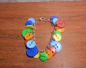 Simple Primary Color Button Bracelet