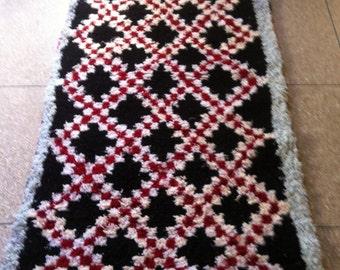 Moroccan Handwoven Beautiful Unique Boucherouite Rug, An amazing piece of work / 223 X 113 CM / 7.2 X 3.8 ft