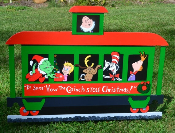 Dr seuss the grinch who stole christmas train with cat in the for Christmas cat yard decorations