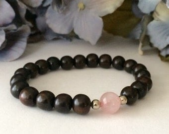 Ebony Wood Rose Quartz Bracelet, Beaded Bracelet, Yoga Healing Meditation Zen Bracelet, Mala Beads, Women's Bracelet, Bracelets for Women
