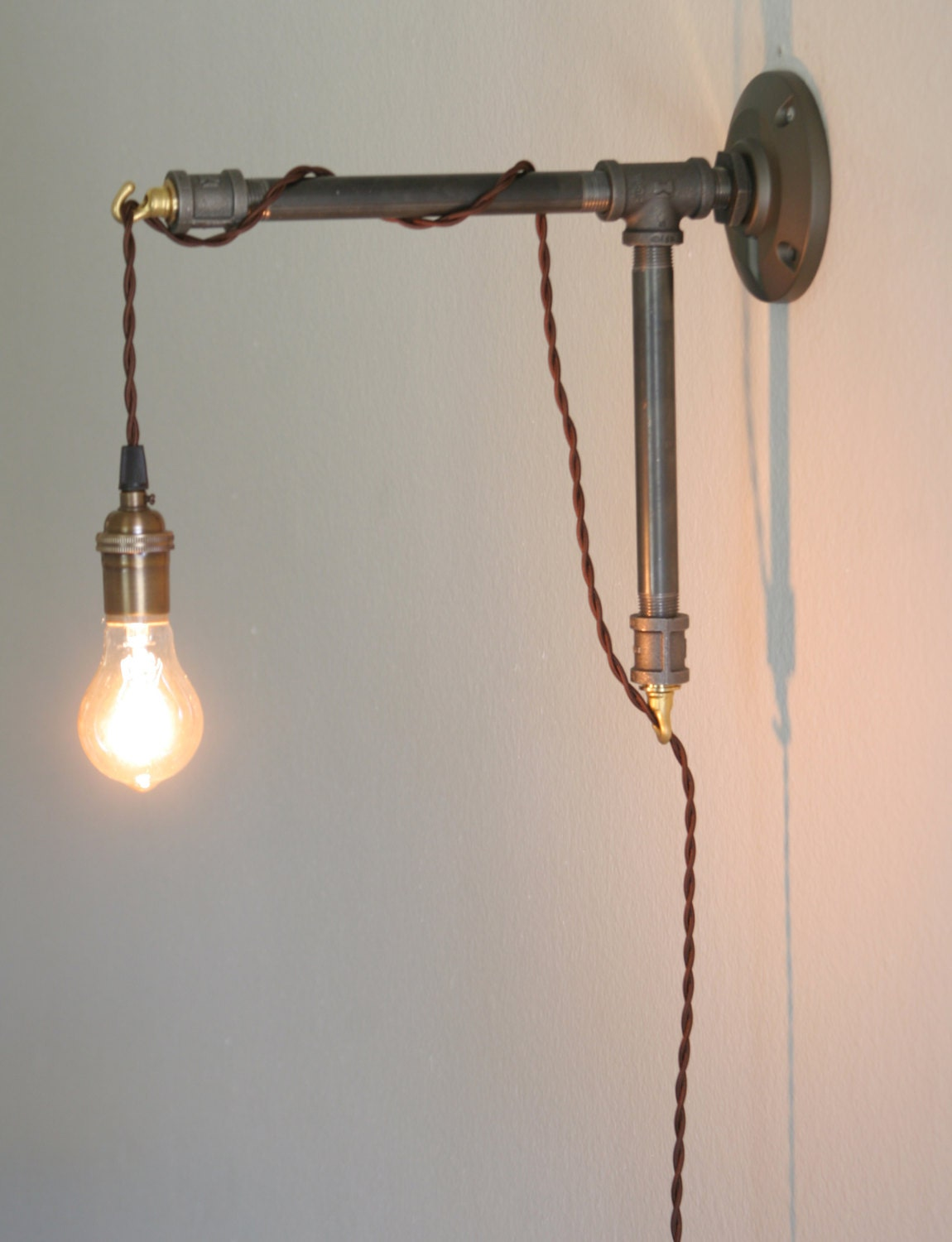 Industrial Iron Wall Sconces : Industrial Style Wall Sconce Iron pipe bracket by Dancingapple