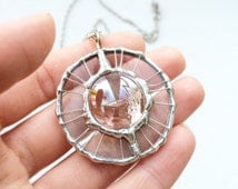 Round Glass Drop Pendant, Light Pink Necklace, Tiffany Technique, Glass Jewelry