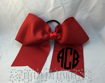 Monogrammed Cheer Bow--Red