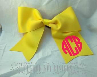 Monogrammed Cheer Bow--Yellow