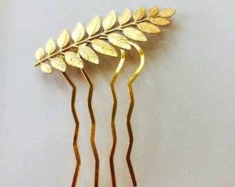 Soldered Gold Laurel Leaf Hair Pin Gold Leaf Hair Comb Leaf Bridal Hair Pin Grecian Wedding Hair Accessory Gold Hair Clip Wedding Hair Comb
