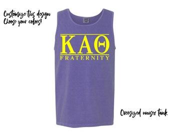 KAO Kappa Alpha Theta Fraternity Comfort Colors Tank Greek Tank Choose Your Colors