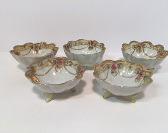 Vintage Nippon hand painted footed finger bowls