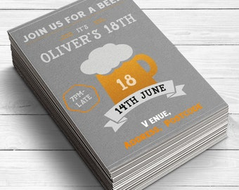 18th Birthday Invitation, Beer Glass Invitation, Finally Legal Invitation, Lager Invite, Beer Tasting Party, 18th Birthday Party Supplies