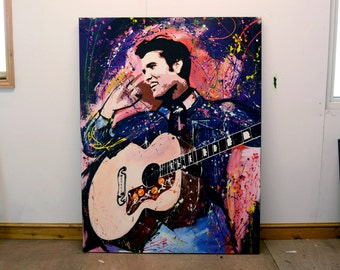 "Elvis, Original Painting, 61"", Worldwide Shipping, Art, Music, Graffiti, Richard Day"