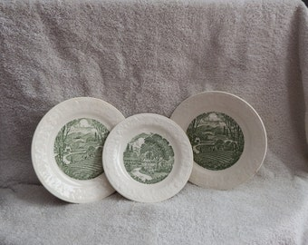 """THREE Pastoral Plates, Homer Laughlin ,TWO 6 1/2"""" ONE 6"""" plates,Bread and Butter plate"""