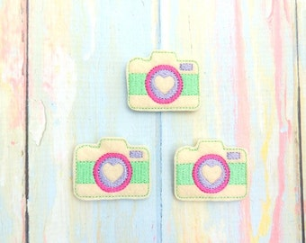 Camera feltie - Camera felt - Camera bow center - Pink camera feltie - Photographer feltie - Camera applique