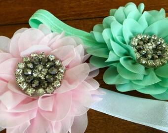mint green headband baby headband birthday headband newborn headband mint green flower