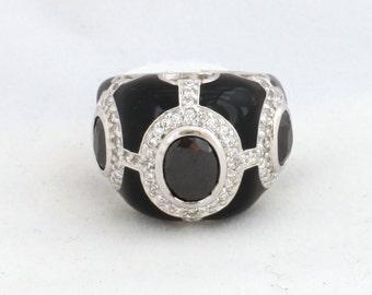 Elegant Black Enamel & Cubic Zirconia Sterling Silver Ring