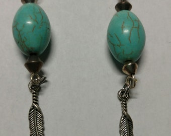Turquoise stone and feather earrings