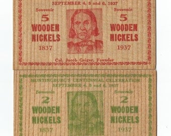 7 wooden nickcles (1937)Indiana