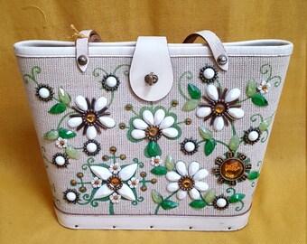 """Vintage 1960's Enid Collins """"Jewel Garden"""" Purse, Bejeweled, Top-Handle"""