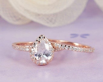 1.96 ctw Pear Diamond Simulated, Halo Ring Half Eternity Wedding Engagement, Rose Gold Plated Sterling Silver Ring Set_ sv2208