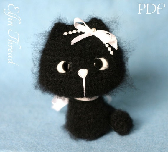 Elfin Thread Fuzzy Mini Kitty Amigurumi PDF Pattern Cat