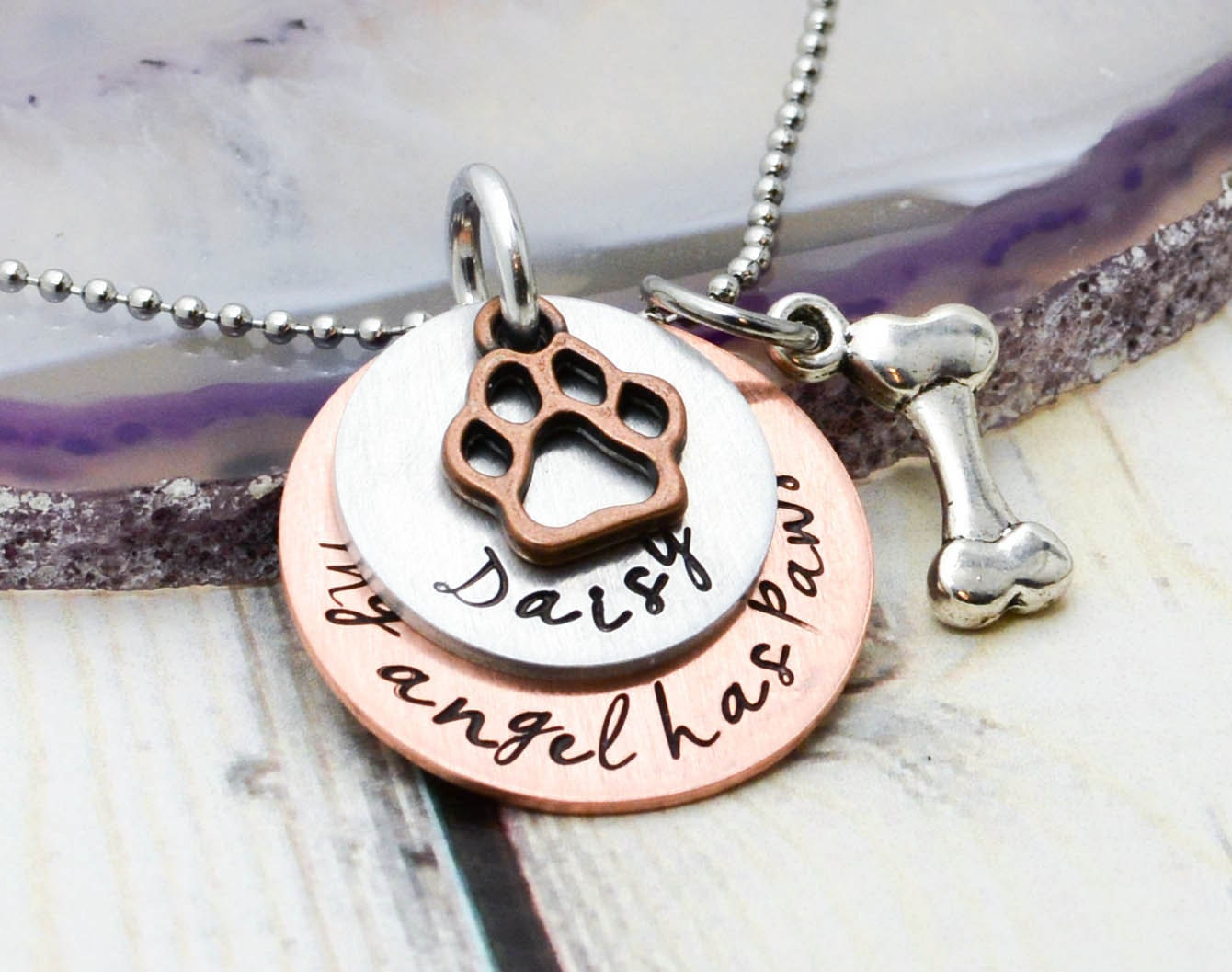 Personalized Pet Memorial Necklace Pet by WildTwistedRoots