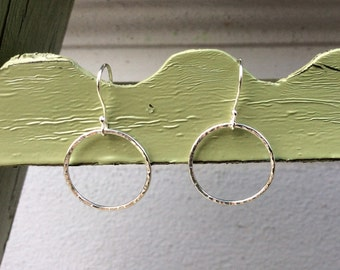 Circle sterling silver earrings, can also be used as a finger ring