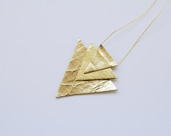 Geometric triangle gold necklace