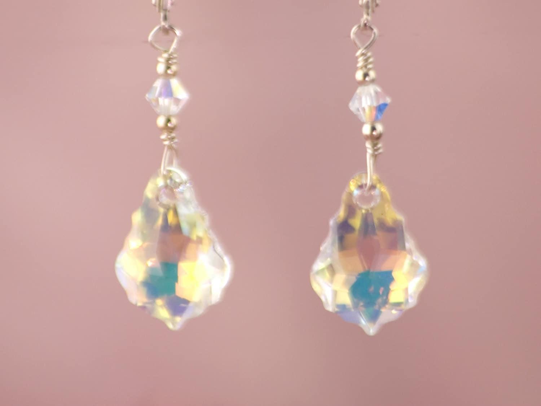 Swarovski Baroque \'Clear AB Coated\' Crystal Earrings, Dangle Earring ...