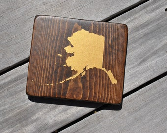 State Silhouette/Outline// Alaska State// AK// Painted// Wooden Sign