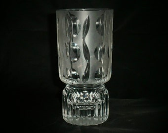 Beautiful contemporary cut glass vase in lead crystal. A striking design with abstract floral design in frosted cut to clear glass