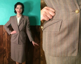 Vintage 1940s Suit | Brown Pinstripe 40s Skirt Suit with Great Buttons | Small
