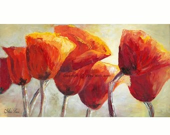 Oil Painting, Painting Canvas, Red Wall Art, Office art, Large Canvas Art of Poppy Painting, Red Poppy Livingroom & Office Decor