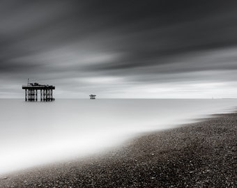 Coastal Fine Art: Seascape, Fine Art Print, Coast, Sea. Black and White Monochrome Photograph