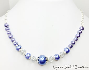 Blue Beaded Necklace Blue Wedding Necklace Bridesmaid Jewellery Mother of the Bride Gift Blue Pearl Necklace Pretty Crystal Jewellery