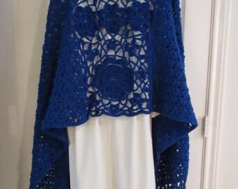 Crochet Shawl: Irish Crochet Shawl in Navy