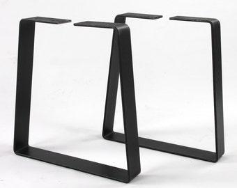 Set of 2 Heavy Duty Trapezoid Bench Legs, Steel Legs, Industrial Table Legs, Metal Legs