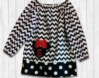Minnie mouse dress, Disney dress, Peasant dress, girls clothing, Minnie dress, Disney clothing