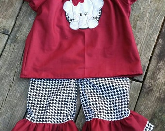 Alabama outfit, team outfit,college football, houndstooth,Roll Tide, elephant  applique, Ruffle pants