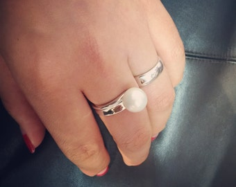 Pearl White Double Sided Ring