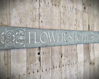 Hand Painted Flower Shoppe Sign- Reclaimed Wood