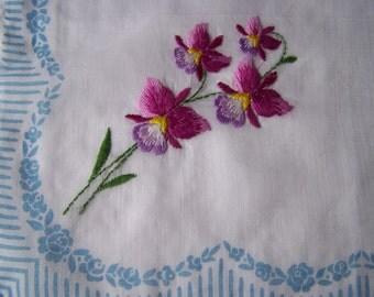 Vintage cotton handkerchief embroidered with violas