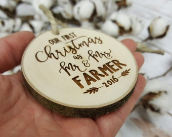 Christmas Ornament - Mr and Mrs Christmas Ornament - Our First Christmas As Mr and Mrs - Wood Slice Ornament - Christmas Ornament