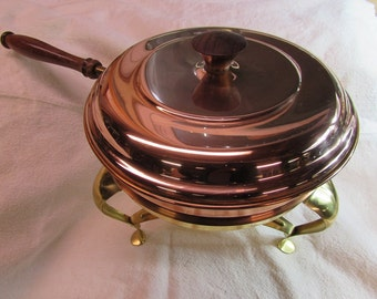 Vintage Brass and Copper Chafing Dish