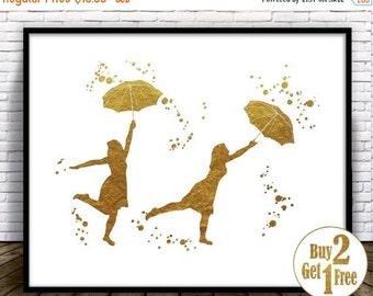 SALE: Umbrella Girls, Umbrella Print, Umbrella art, umbrella wall art, umbrella wall decor, nursery wall decor, Umbrella poster, Gold Decora