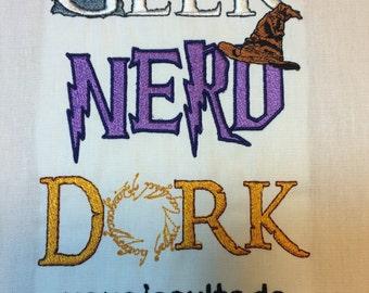 Fantasy Geek Nerd Dork Machine Embroidery Design 5x7