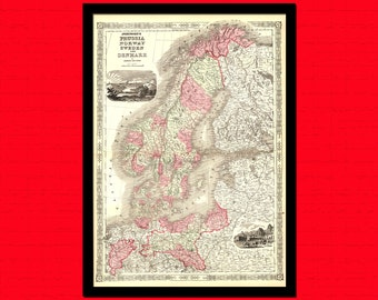 Old Scandinavia Map 1864 Latvia Map Estonia Map Finland - Ancient Map Wall Art Antique Map Poster Old Map Lthuania BUY 2 GET 1 FREE