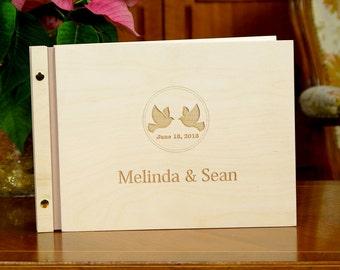 Custom Wedding Guest Book Rustic Wooden Guestbook Birds Bride and Groom Names