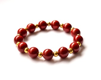 Red and gold tone beaded bracelet - Magic beads - Gift for girlfriend - Gift for girls - Gift for friends - Cute bracelets