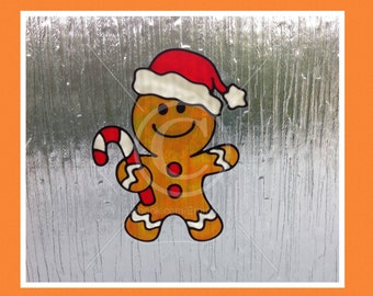 Gingerbread Man Christmas window cling for glass & window areas, reusable faux stained glass effect decal, static cling suncatcher decals