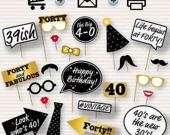 40th Birthday Party Printable Photo Booth Props - Glasses, Hats, Ties, Lips, Mustaches, Speech - INSTANT DOWNLOAD - Printable Birthday Props