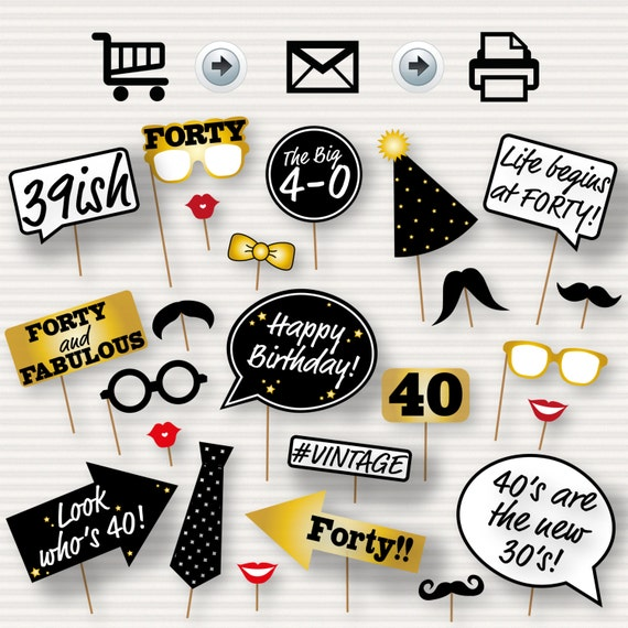 40th Birthday Party Printable Photo Booth Props
